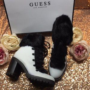 Guess White/Fur Platform Boot 7M